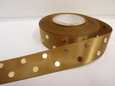 25mm Metallic Polka Dot Satin ribbon, 2 or 20 metres Gold with Gold spots